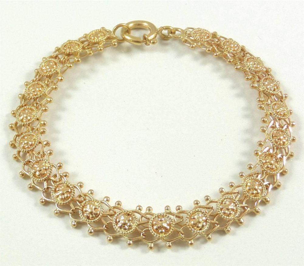 Vintage solid k gold luxurious link chain bracelet g