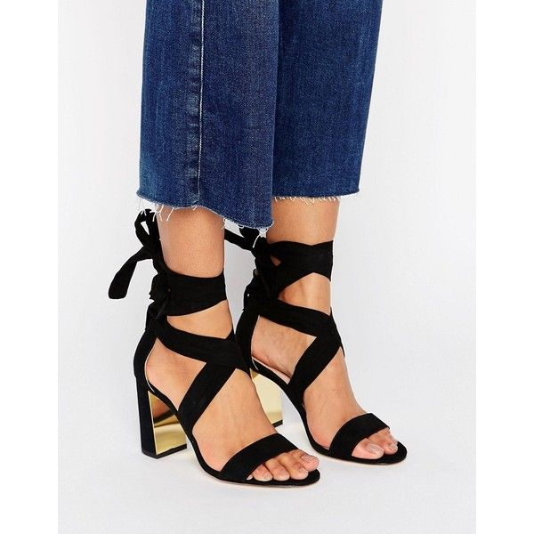London Rebel High Metal Plate Tie Sandal ($53) ❤ liked on Polyvore featuring shoes, sandals, black, black open toe sandals, black shoes, metallic sandals, block-heel sandals and black open toe shoes