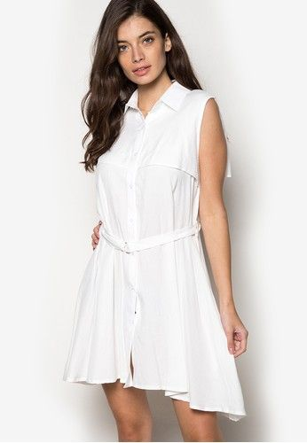 Collared Double Breasted Dress With Belt from Hug in white_1