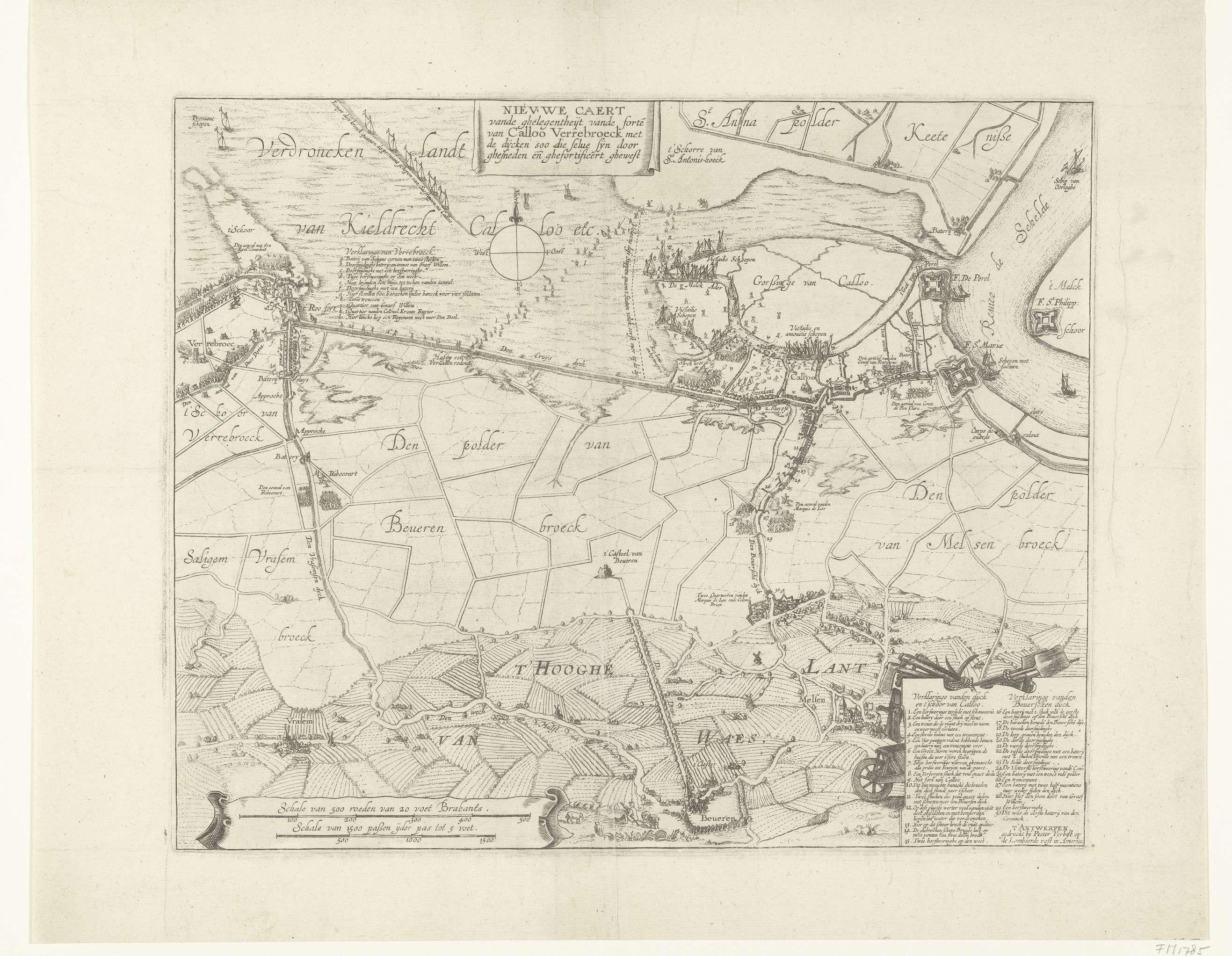 Anonymous | Kaart met de mislukte aanval op fort Kallo, 1638, Anonymous, Pieter Verbiest (II), 1638 | Kaart van het verdronken land tussen de forten Kallo en Verrebroek met de mislukte aanval door het Staatse leger onder Willem, graaf van Nassau-Siegen, op fort Kallo, 21 juni 1638. Rechtsonder een cartouche met de legenda 1-30; linksboven bij Verrebroek de legenda a-l.