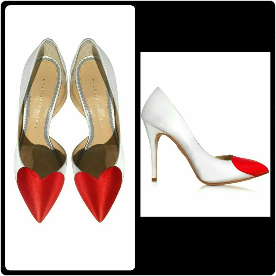 Charlotte Olympia Bethany White And Red Satin Pumps