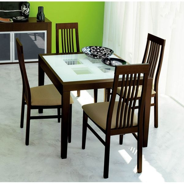 Cheap Glass Dining Room Sets: Luca Home Frosted Glass Dining Table