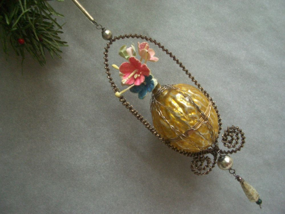 Details about Antique Christmas Ornament Glass Wire Wrapped