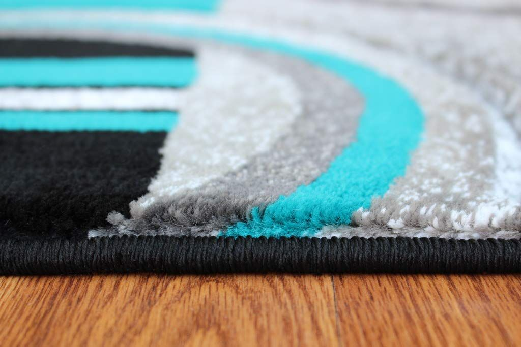 Masada Rugs Sophia Collection Hand Carved Area Rug Modern Contemporary Turquoise Grey Black 2 Feet X 3 Feet Modern Area Rugs Turquoise Grey Modern Contemporary