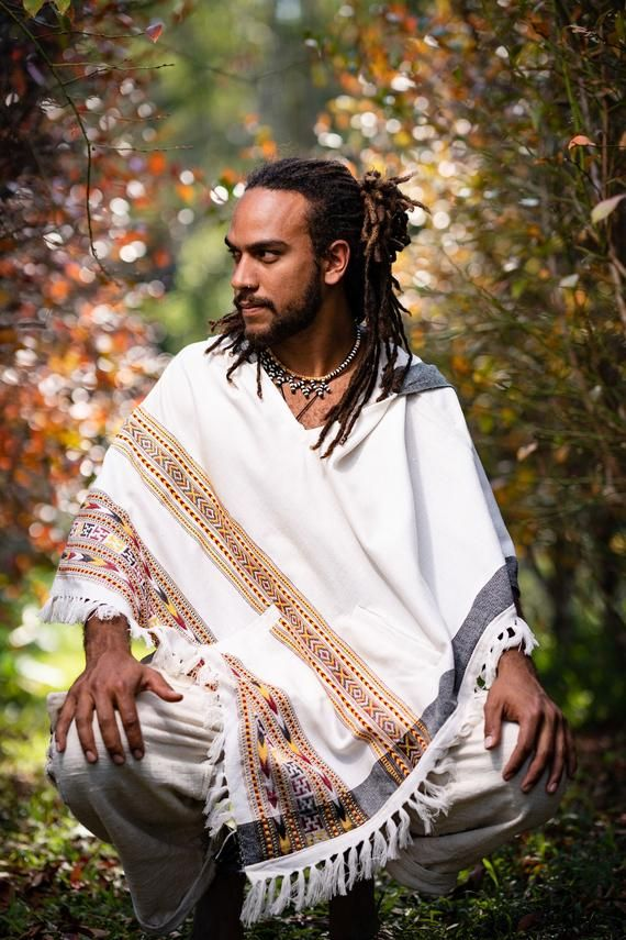 Mens Poncho Large Hood Yak Wool Pure White Tribal