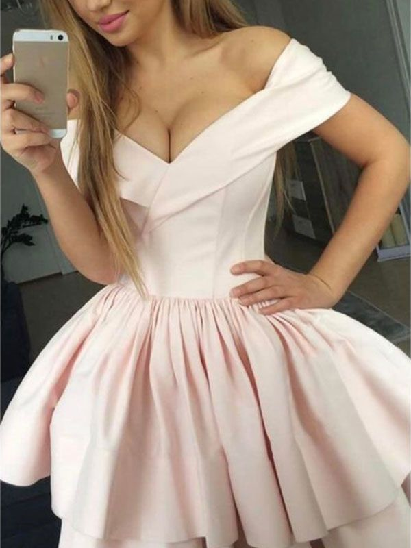 9510c293f26 2019 A-Line Satin Off-the-Shoulder Short Pearl Pink Homecoming Dresses