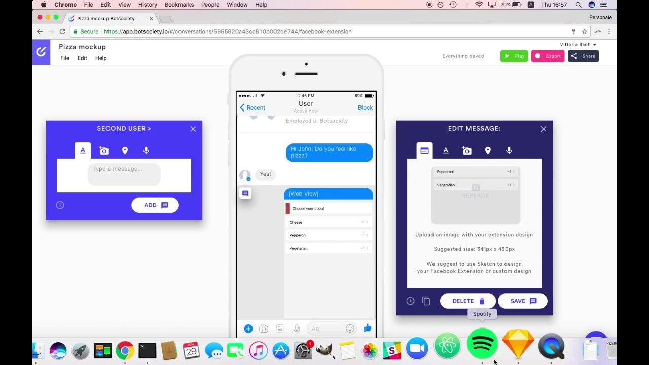 How to create a Facebook Messenger Extension preview