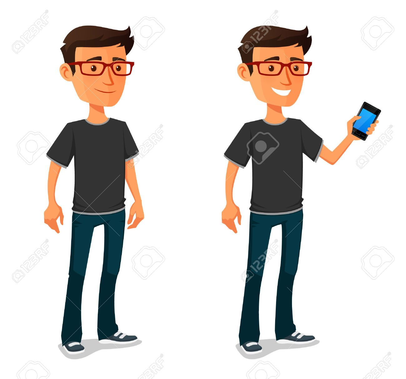 Cartoon Characters Guys : Funny cartoon guy with mobile phone stock vector
