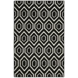 Com Safavieh Hand Woven Moroccan Dhurrie Black Ivory Wool Rug