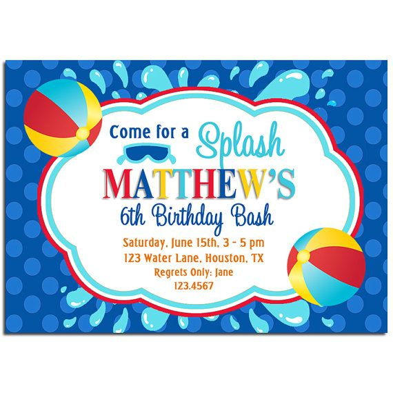 Beach Ball Splash Invitation Printable Pool Party Water Slide – Water Slide Party Invitations