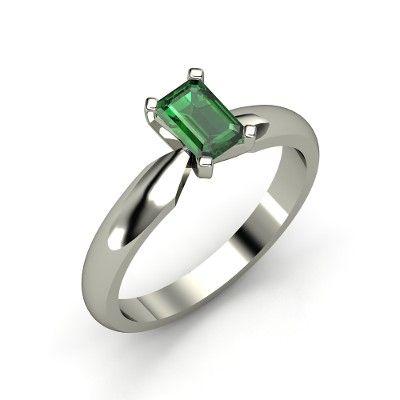 Emerald-Cut Emerald Platinum Ring - Ara Ring (6mm gem)   Gemvara