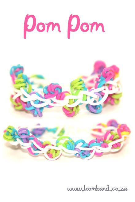 Pom Pom loom band bracelet tutorial