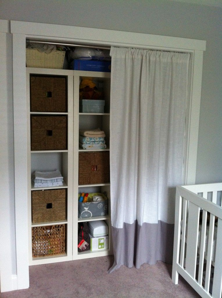 baby brown 39 s nursery closet curtains project nursery. Black Bedroom Furniture Sets. Home Design Ideas