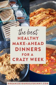 Make-Ahead Dinners for a Crazy Busy Week | Easy Meal Prep For Beginners - Ready to meal prep an entire week of dinners because you know its bout to be a busy one? These recipes are my favorite make ahead dinners for the week. Theyre healthy easy freezer friendly & perfect for the entire family. Just pop in the oven & reheat! Organize Yourself Skinny | healthy make ahead dinners #makeaheaddinner #makeaheadmeals #mealprep #easymealprep #easydinner #dinnerrecipes #mealprepdinner