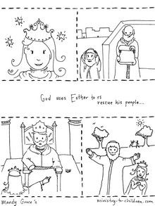 This free coloring page illustrates the biblical story of Esther and ...