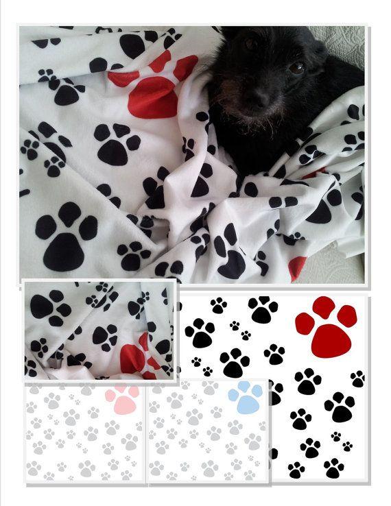 Paw Prints Pet Doggie Blanket LG 32x50 Red Black by DrapeStudio