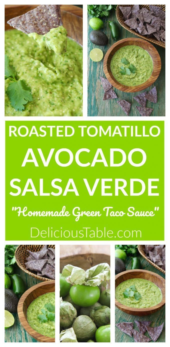 Try this Roasted Tomatillo Avocado Salsa Verde (green taco sauce) to drizzle on ...  - Low Carb Recipes -