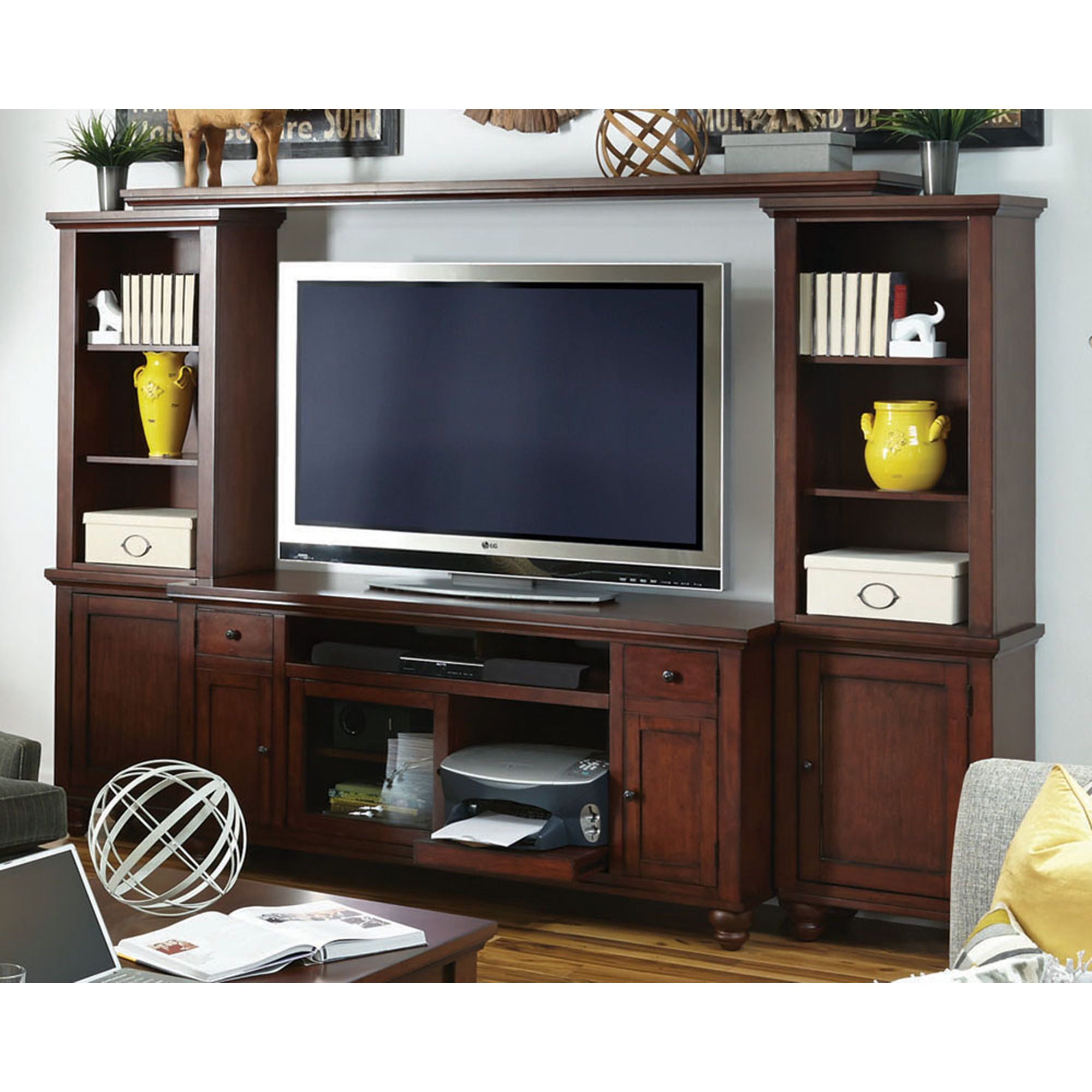 Cambridge Entertainment Wall Unit In Brown Aspen Home Furniture Gallery S