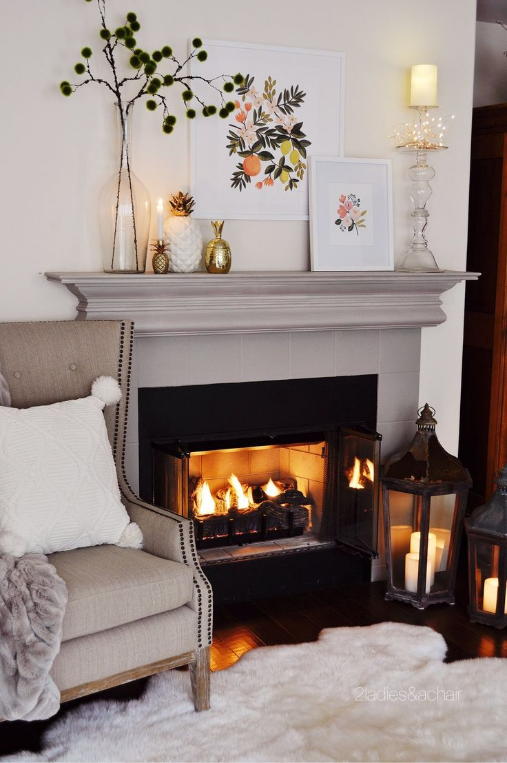 Light Bright And Cozy Decor Transitions From The Holiday Season 2 Ladies A Chair Cozy Decor Living Room Decor Gray Fireplace Decor Living room fireplace decor