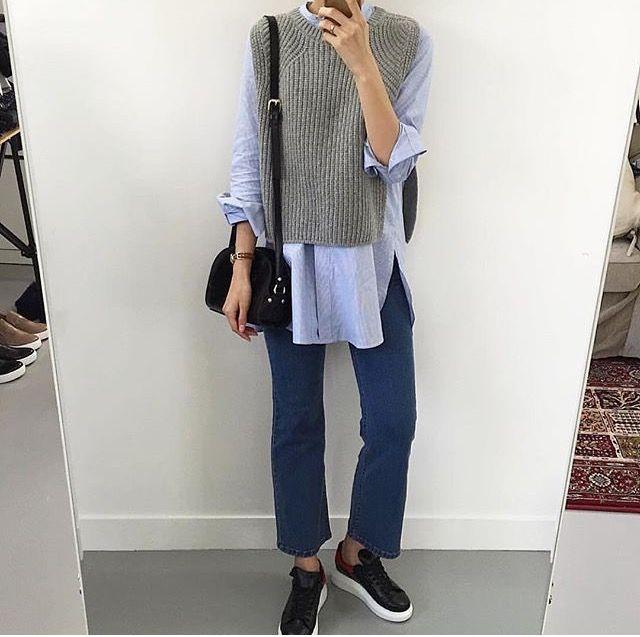 Spring denim blue shirt grey knits