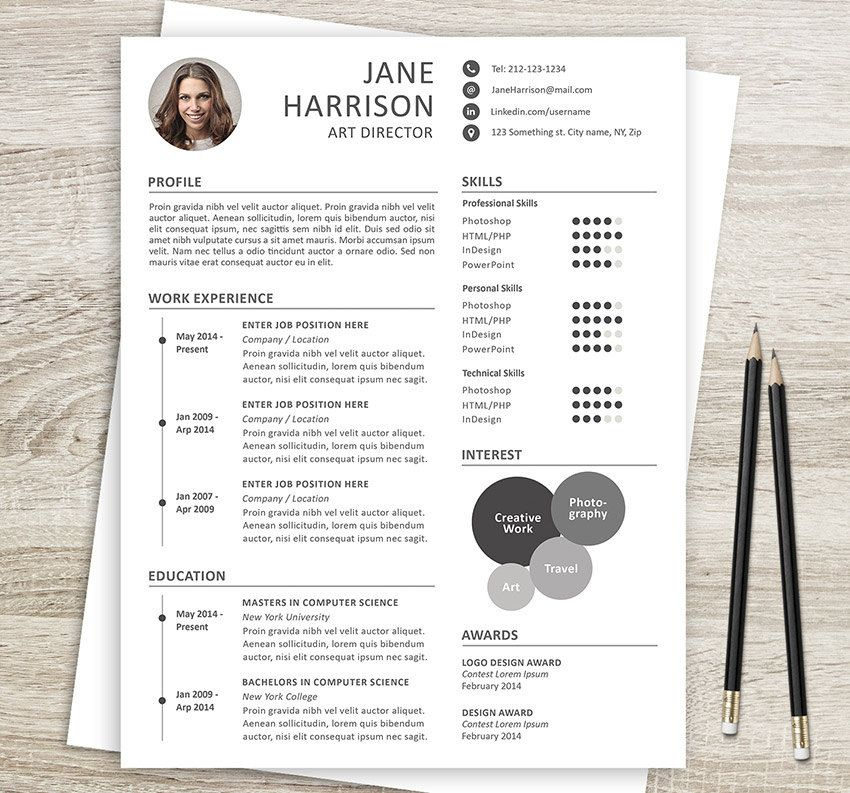 Resume Template And Cover Letter  Professional Cv A And Us