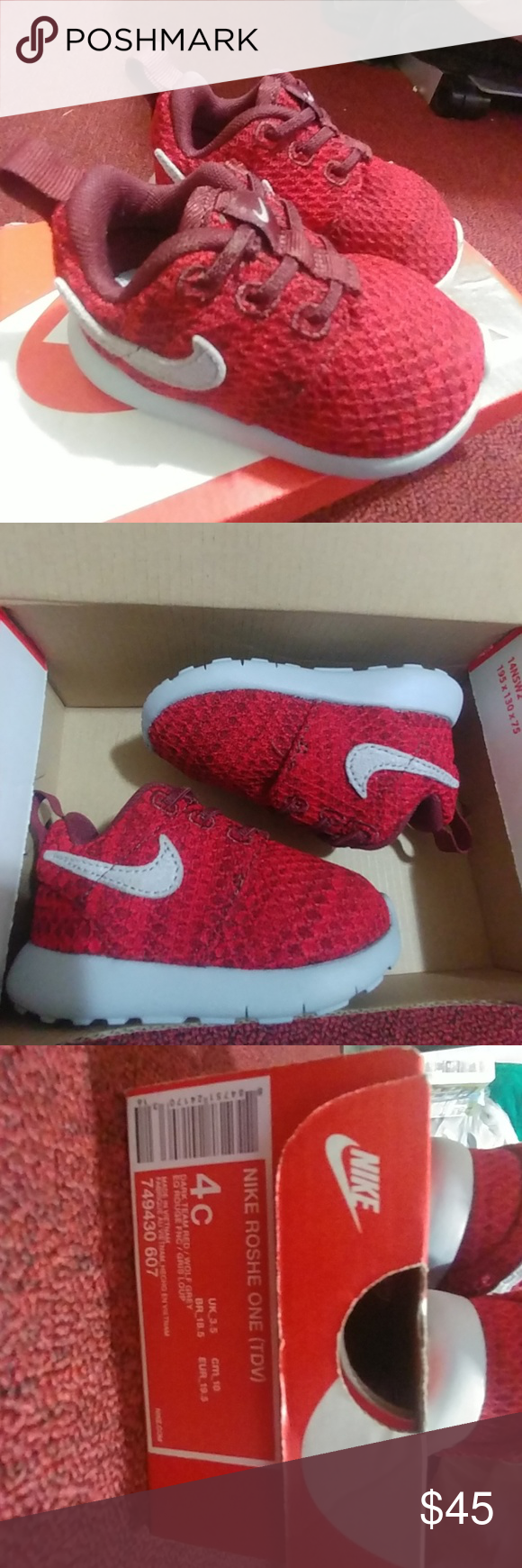 Toddler Red Nike Roshe One Here are the Nike Roshe One in red and grey.  They are size 4C for Toddler Infants. Only worn 4 times ever. Nike Shoes  Sneakers c2d7782be