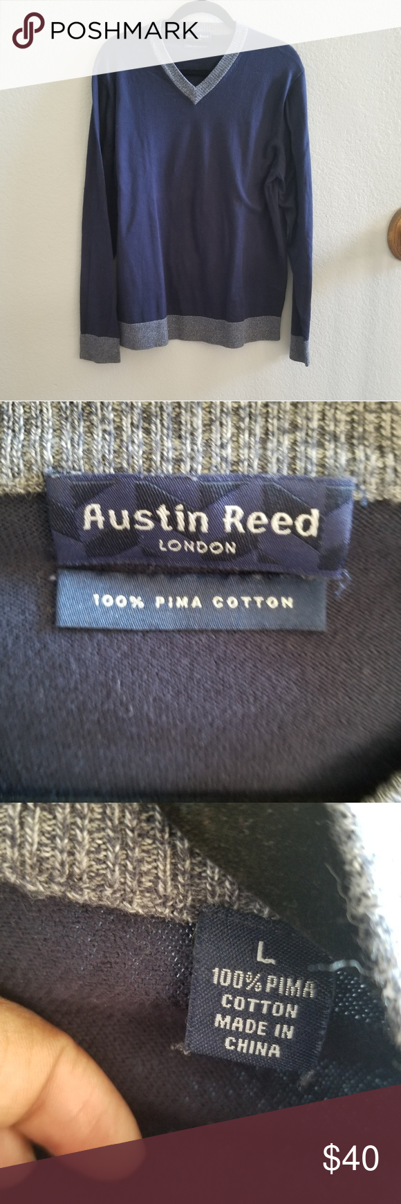 Austin Reed Cotton V Neck Sweater Austin Reed Cotton V Neck Sweater Excellent Condition Austin Reed Sweaters V Neck Vneck Sweater Austin Reed Austin