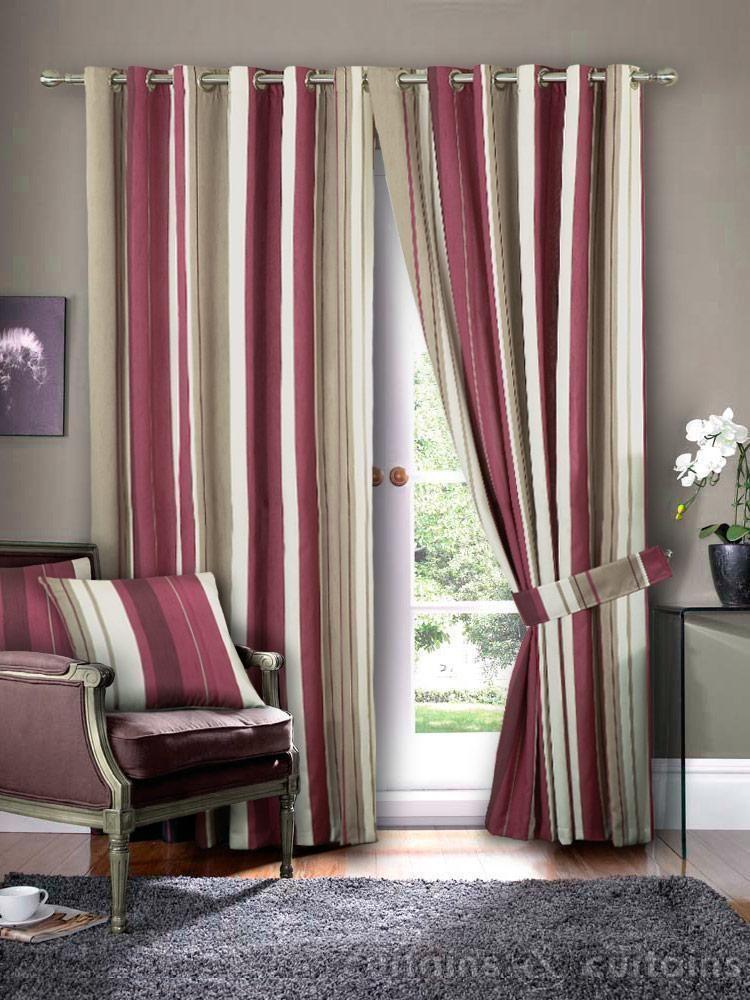 Hilton Claret Red Brown Eyelet Striped Curtain