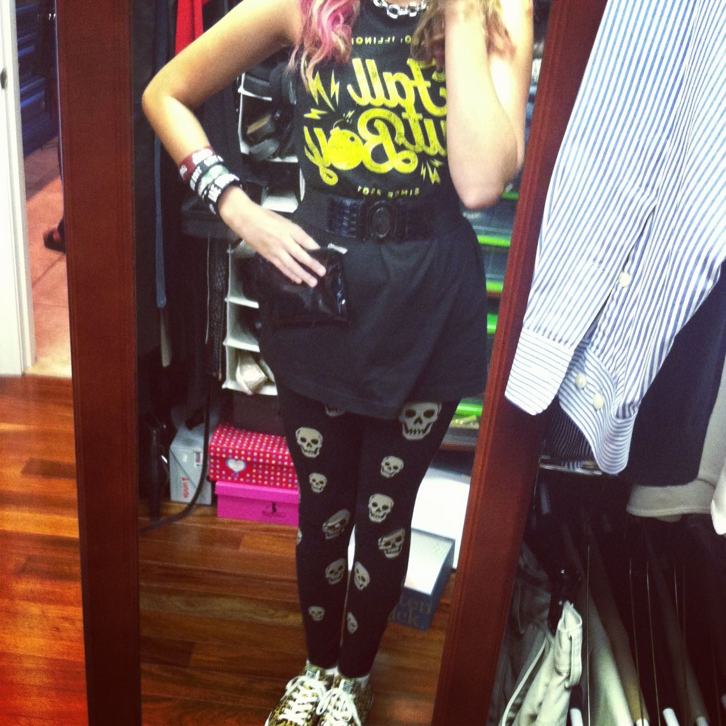Fall Out Boy DIY Tunic, Skull Leggings, Leopard Converse, High Waist Belt, and Accessorize it with your edgiest jewels!