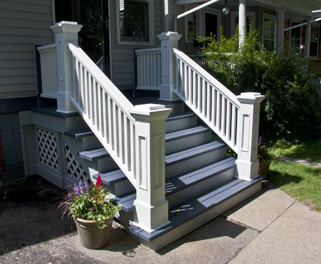 Edgewater Front Porch Rails And Newel Posts Craftsman Porch | Exterior Wood Newel Posts | Porch | Banister | Stair Railing | Oak | Cap