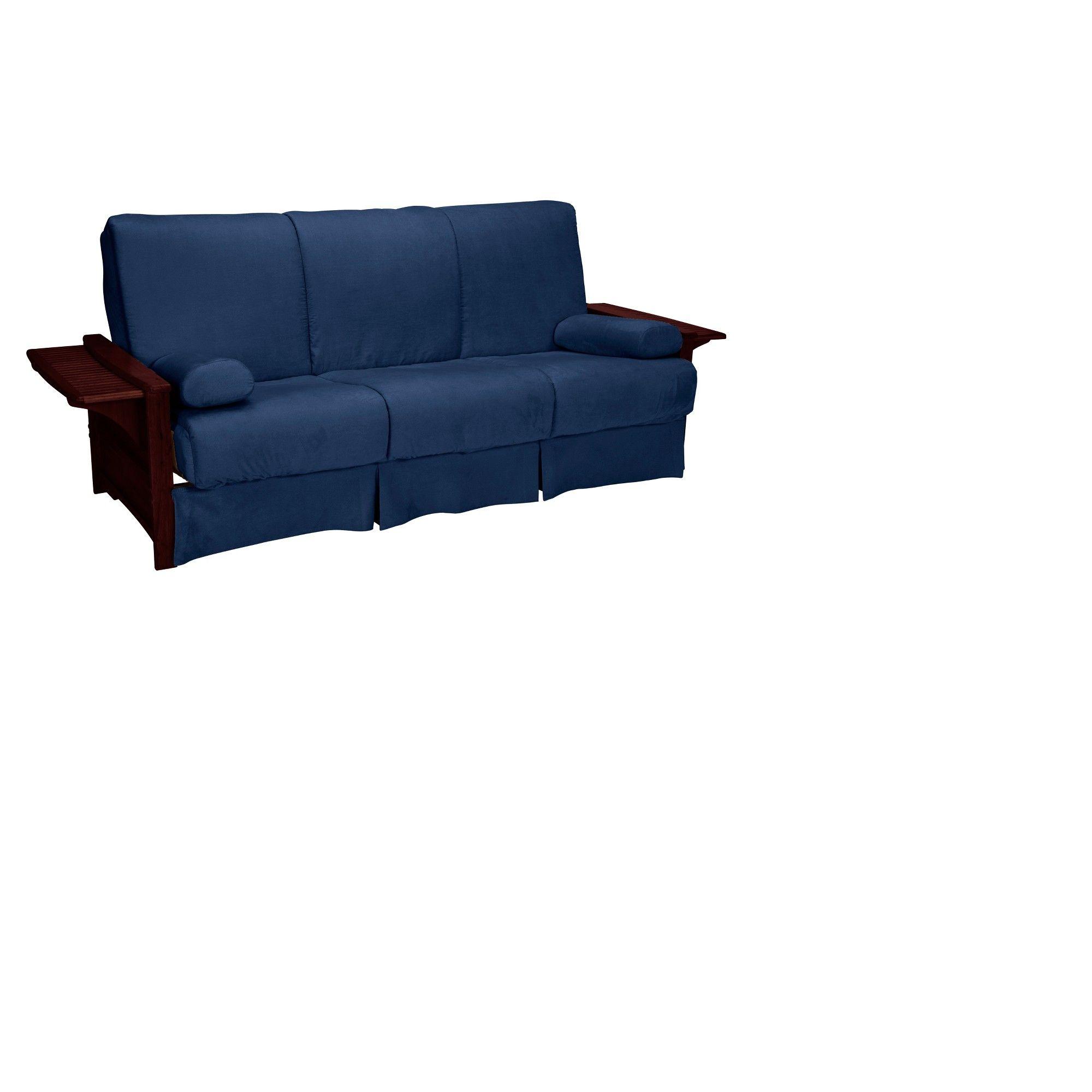 Brooklyn Perfect Futon Sofa Sleeper Mahogany Wood Finish Dark Blue Upholstery Queen