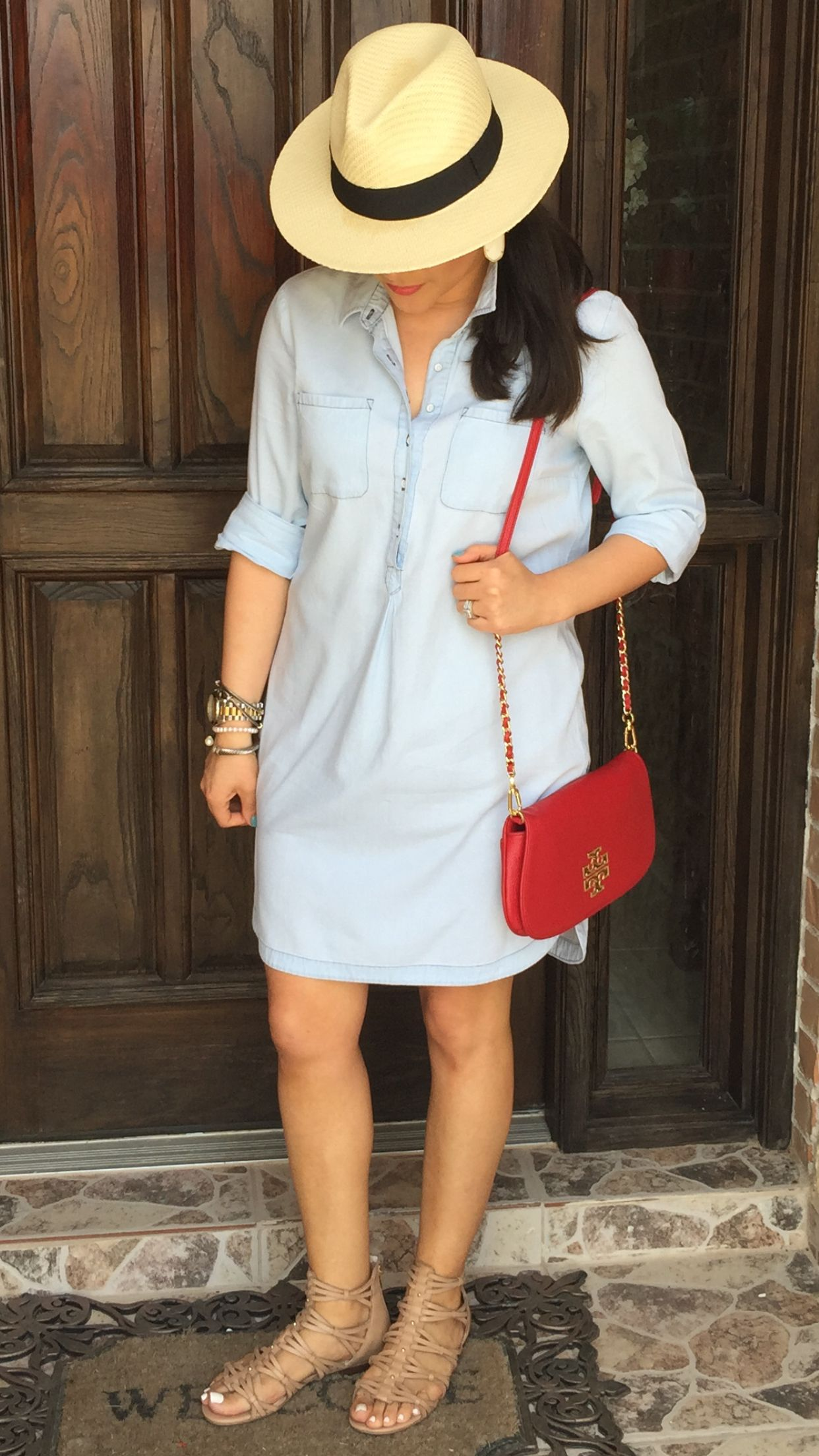 d1b3f0c9 Outfit of the day | summer | shirt dress | ideas | Jean | chambray | old  navy | Panama hat | style | outfits | nude | gladiator sandals | red ...