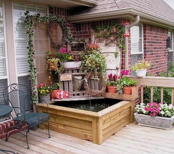 Small Gardens Ideas water feature surrounded by plantings Small Patio Garden Ideas Small Garden Ideas Beautiful Renovations For Patio Or Balcony