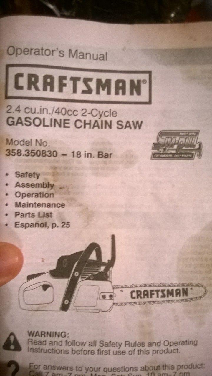 Craftsman 18 40cc Chainsaw : craftsman, chainsaw, Sears, Craftsman, Chainsaw, Scooter's, Garage, Rosemount,, Chainsaw,, Craftsman,, Rosemount