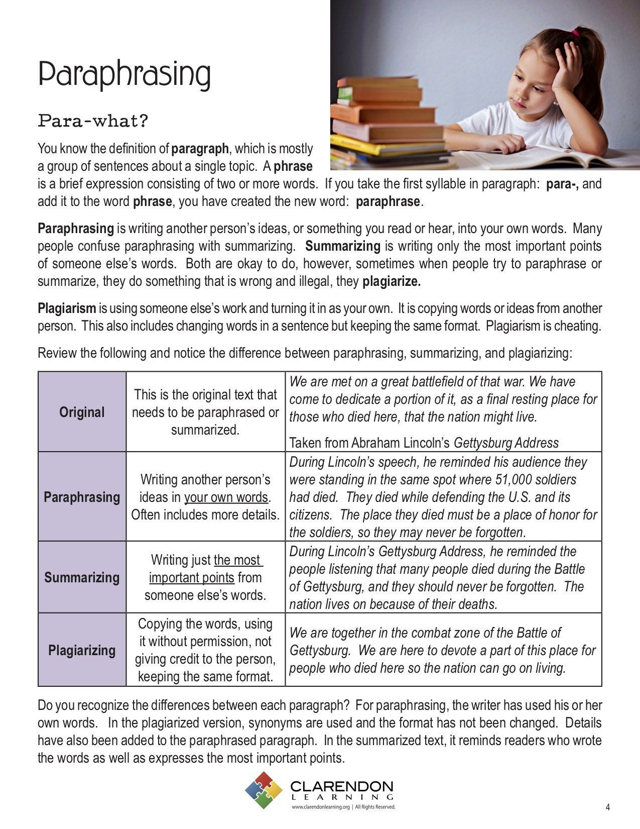 Paraphrase Worksheet 5th Grade Paraphrase Reasding