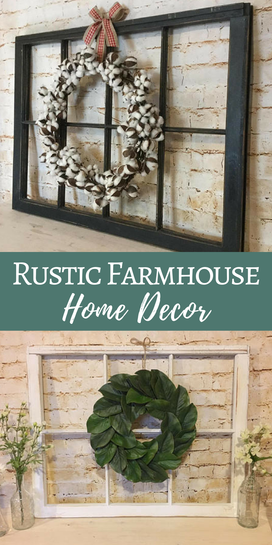 Window decor with wreath  antique window and wreath  rustic farmhouse home decor  fixer