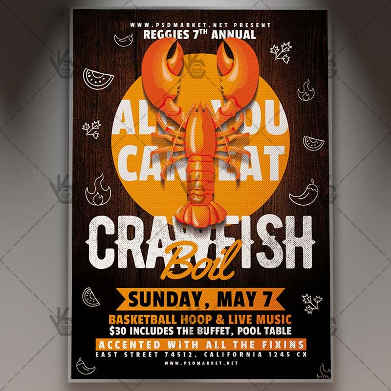 Crawfish Flyer Business PSD Template