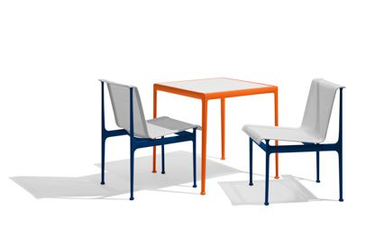 Richard Schultz 1966 Outdoor Set-up Tags / Keywords:  Richard Schultz 1966 Collection 1966 Dining Table 1966 Dining Chair Outdoor Set-up Blue Orange Media ID: 11916