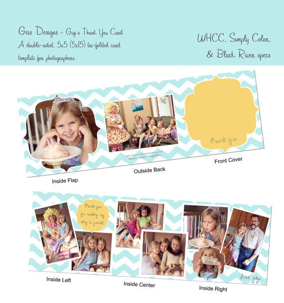Created by Michelle Geis  Doublesided TriFold 5x5 MultiImage Child's Thank by GeisDesigns, $7.50