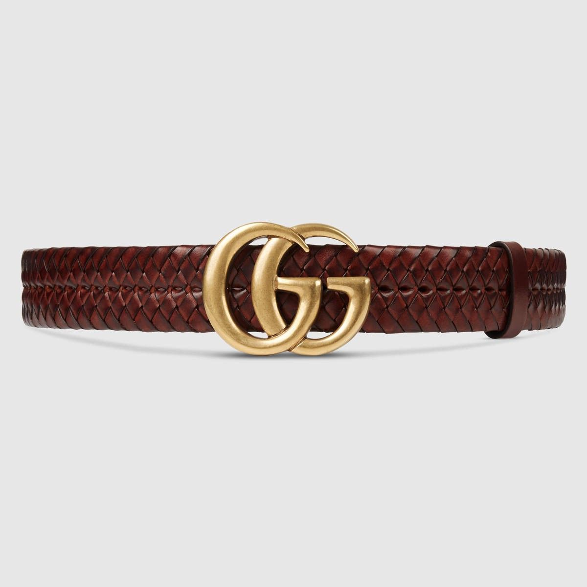 02325b6dd57 GUCCI Braided belt with Double G buckle - brown leather.  gucci ...