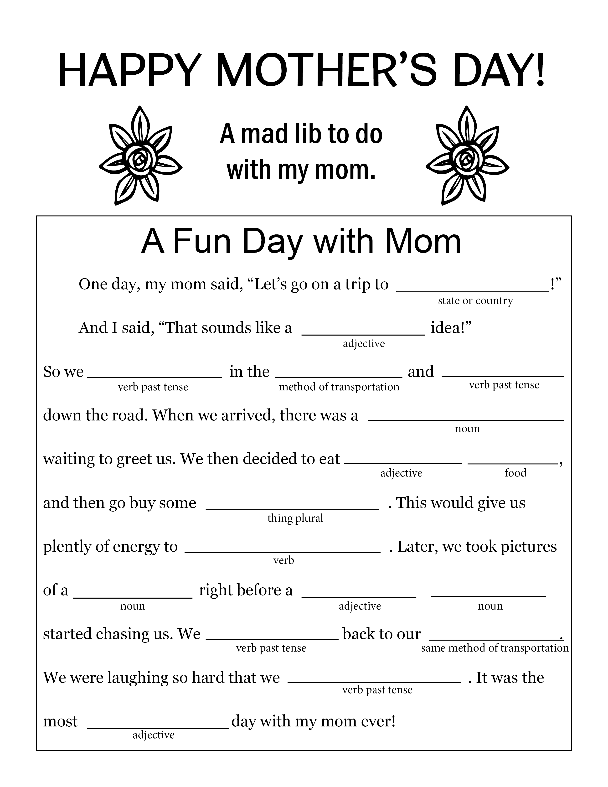 A Fun Mad Lib To Do With Mom On Mother S Day Free And