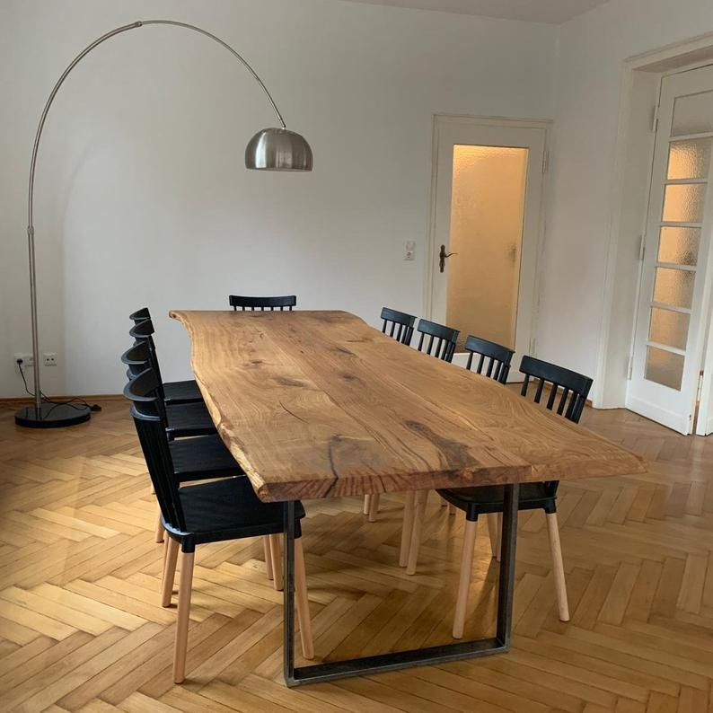Dining table oak wooden table solid wood tree table table oiled