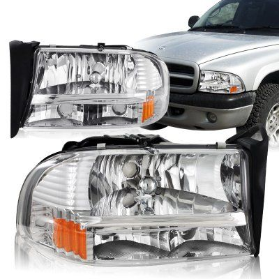 Dodge Dakota 1997 2004 Chrome Headlights One Piece Dodge Dakota Dodge Durango Dodge