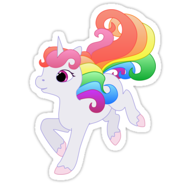 A cute rainbow unicorn with flowing rainbow mane and tail.  Drawn with vectors. • Also buy this artwork on stickers, apparel, phone cases, and more.