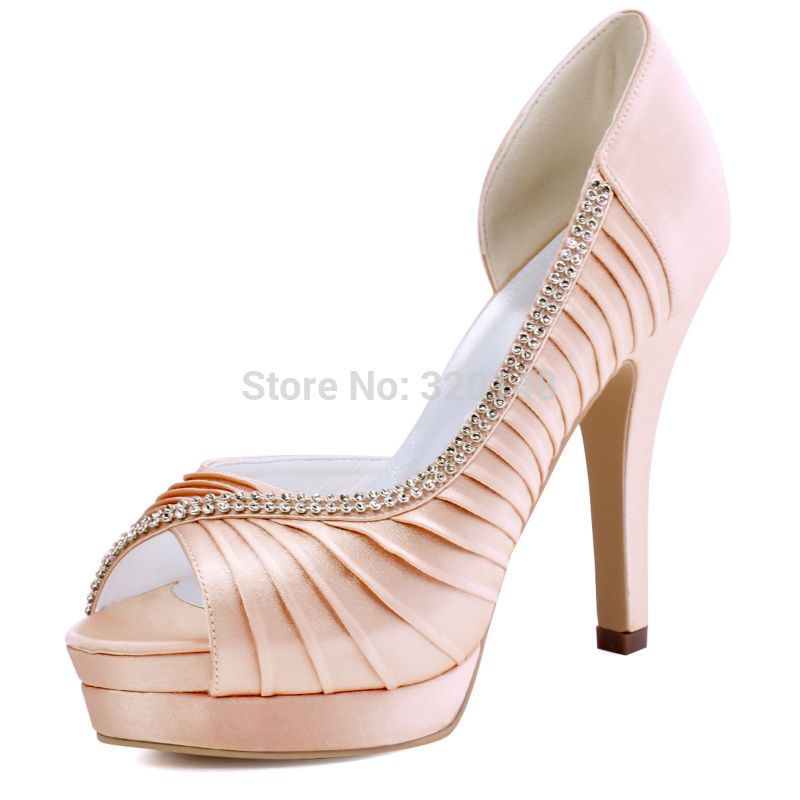 Women Pink High Heel Peep Toe Platform Rhinestone Pleated Satin Bridesmaid  Bride Prom Evening Wedding Bridal 9266c9e91f2f