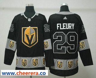 8c3304c5771 Men s Vegas Golden Knights  29 Marc-Andre Fleury Black Team Logos Fashion Adidas  Jersey