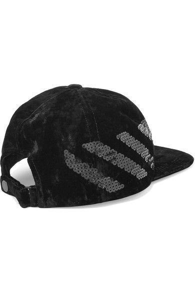 f5cee5e81e0 Off-White Sequin-embellished Velvet Baseball Cap - Black