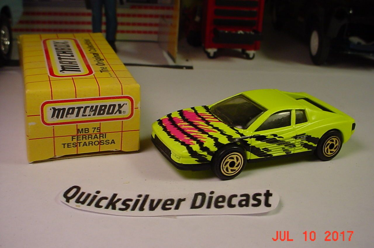 Matchbox Ferrari Testarossa Chartreuse 1993 75 Box