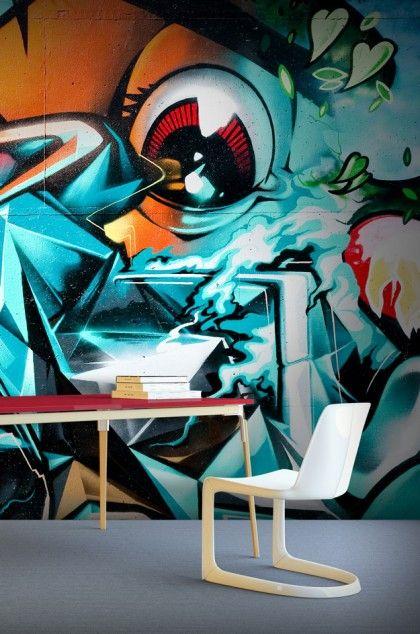 papier peint graffiti is watching you papier peint chambre ados e papier. Black Bedroom Furniture Sets. Home Design Ideas