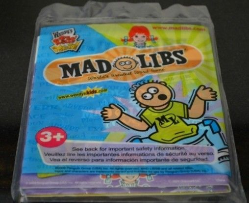 Wendy s Kids Meal toy Mad Libs 2009 Book new